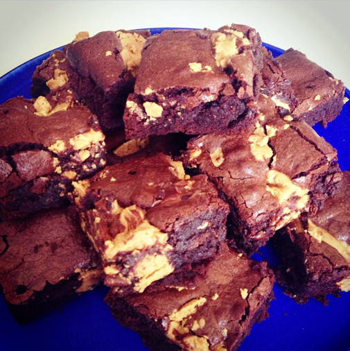 Post image for peanut butter brownies